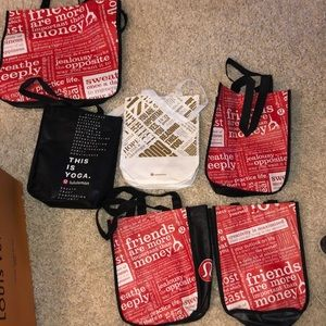 A bunch of lululemon reusable bags